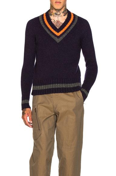 kolor BEACON V Neck Sweater in Navy