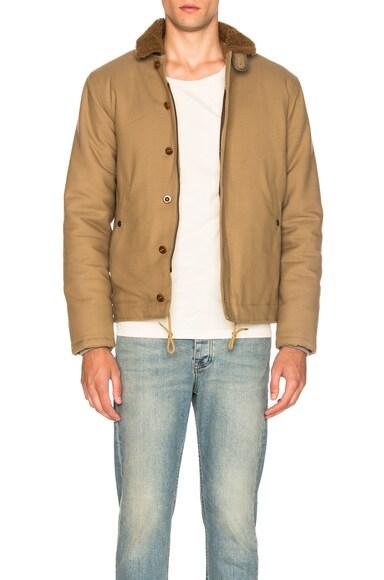 kolor BEACON Sheep Shearling Collar Jacket in Khaki Beige