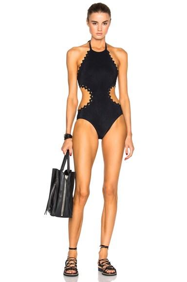 Karla Colletto Rick Rack Halter Swimsuit in Black