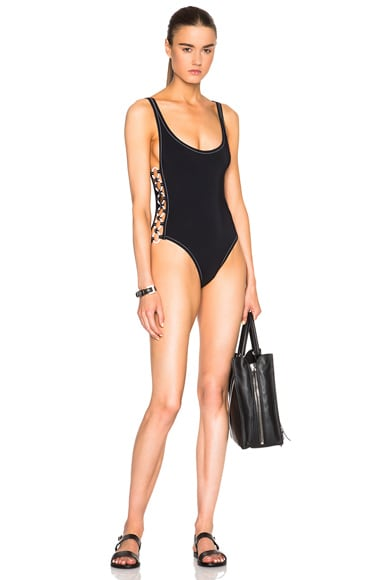 Karla Colletto Rings Round Neck Swimsuit in Black & White