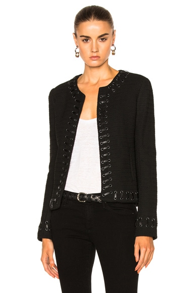 L'AGENCE Devereaux Leather Whipstitch in Black