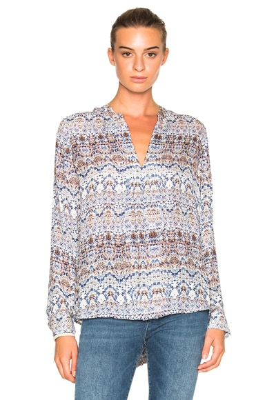 L'AGENCE Lauren Top in Blue & Nutmeg