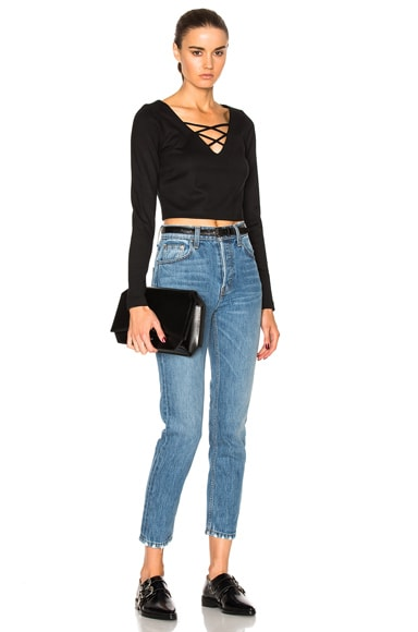 Ava Cropped Lace Up Top