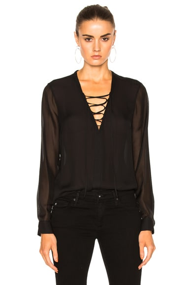 L'AGENCE Ynez Front Lace Up Blouse in Black