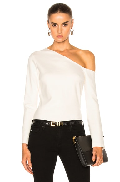 L'AGENCE Jenny Cold Shoulder Top in Magnolia
