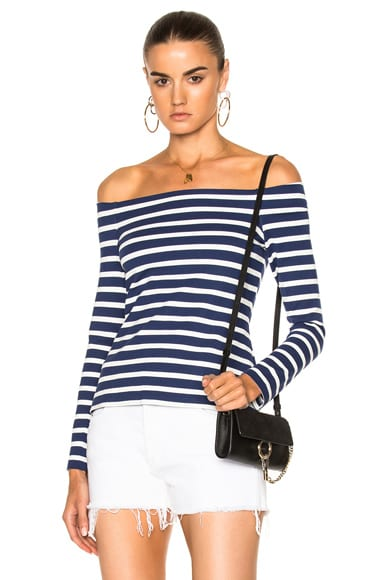 L'AGENCE Cynthia Top in Navy & Magnolia