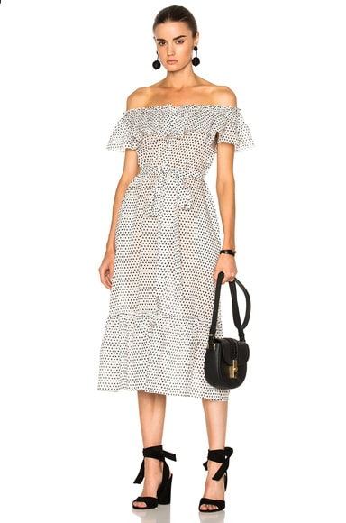 Lisa Marie Fernandez Mira Button Down Sheer Dress in Black & White Polka Dots