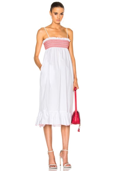 Lisa Marie Fernandez Smocked Slip Dress in White & Red