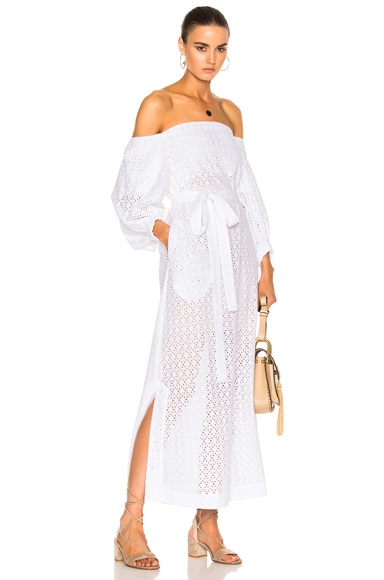 Lisa Marie Fernandez Bubble Sleeve Dress in White Eyelet