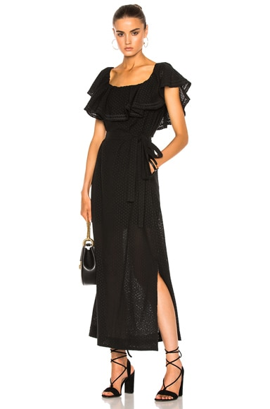 Lisa Marie Fernandez Mira Dress in Black Eyelet