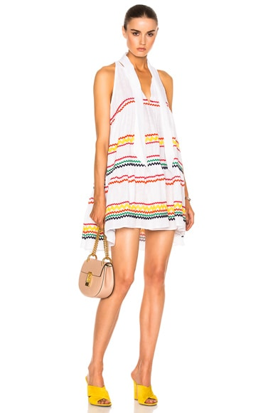Lisa Marie Fernandez Mini Babydoll Dress in White & Multi