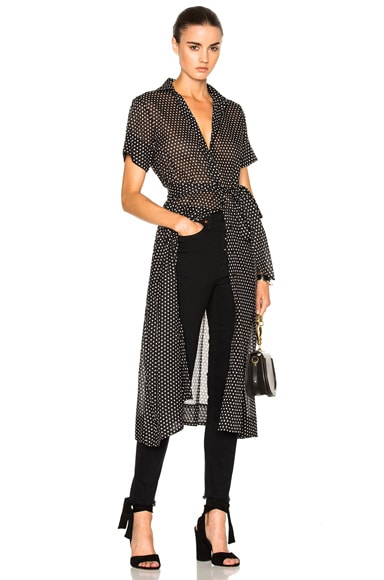 Lisa Marie Fernandez Shirt Dress in Black & White Polka Dots
