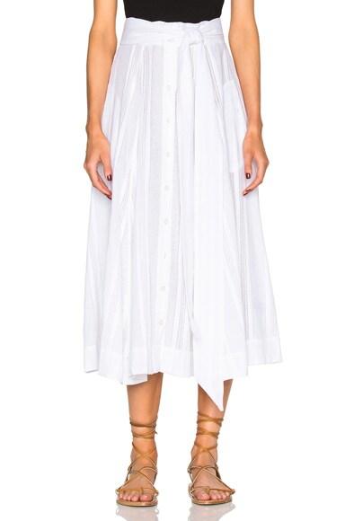 Lisa Marie Fernandez Beach Skirt in White Stripe