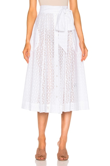 Lisa Marie Fernandez Beach Skirt in White Eyelet