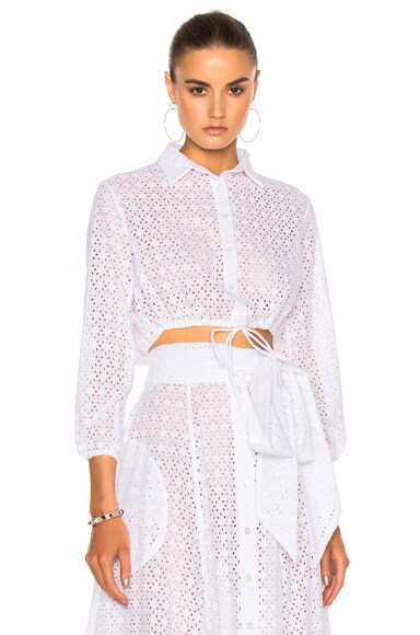 Lisa Marie Fernandez Bubble Top in White Eyelet