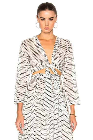 Lisa Marie Fernandez Tie Blouse in Black & White Polka Dots