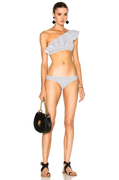 Lisa Marie Fernandez Arden Flounce Bikini in Black & White Polka Dots