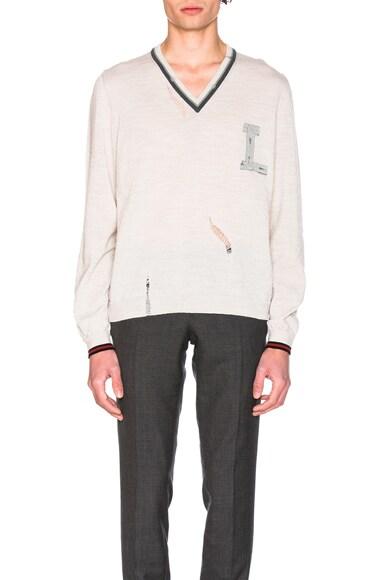 Lanvin Open Stitch Stripe Details V Neck Sweater in White