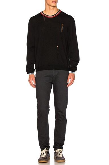 Open Stitch & Stripe Detail Sweater