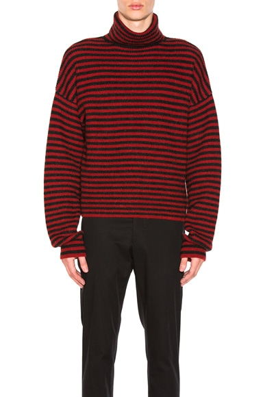 Fisherman Rib Stitch Stripe Turtleneck Sweater