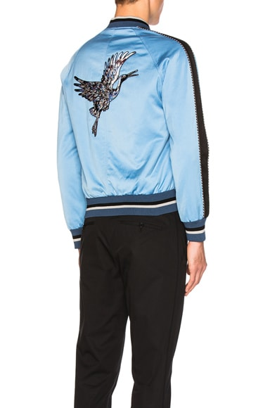 Lanvin Embroidered Patches Baseball Jacket in Sky Blue