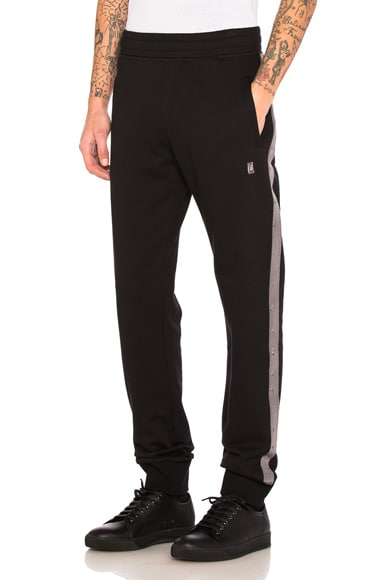 Lanvin Fleece Grosgrain Slim Pant in Black