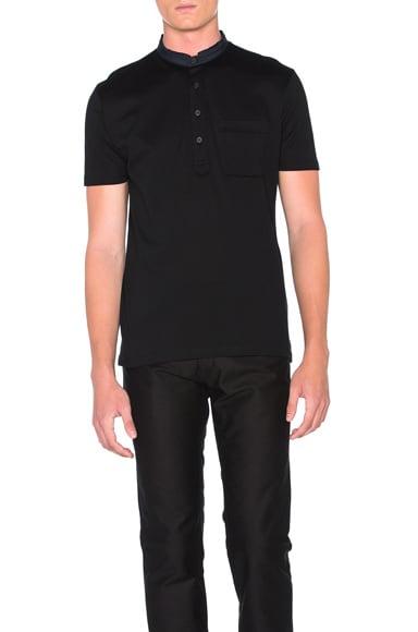 Lanvin Cut Shirt Collar Polo in Black