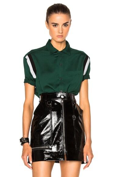 Lanvin Open Collar Short Sleeve Shirt in Green