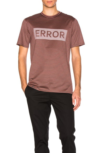 Lanvin Error Print Microstripes Tee in Red