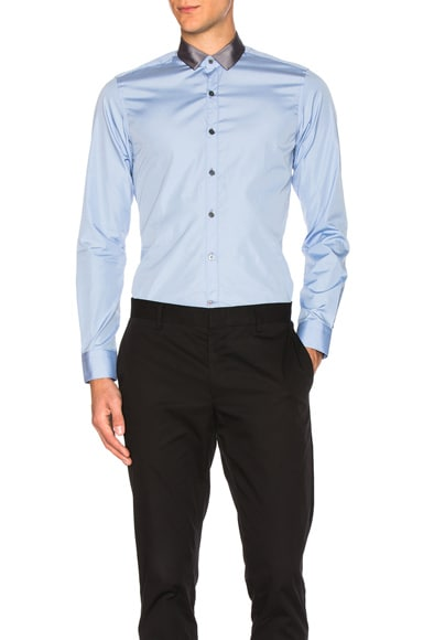 Lanvin Signature Ribbon Collar Shirt in Blue