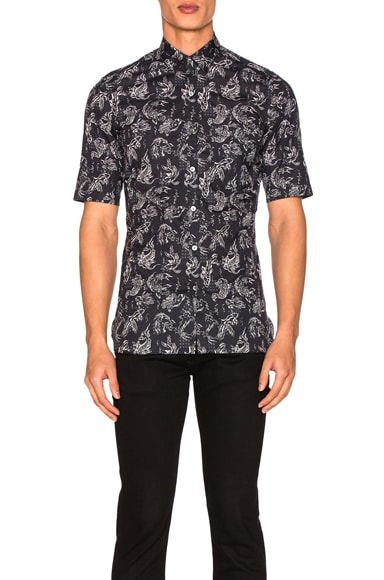 Lanvin Slim Fit Short Sleeve Shirt in Navy Blue