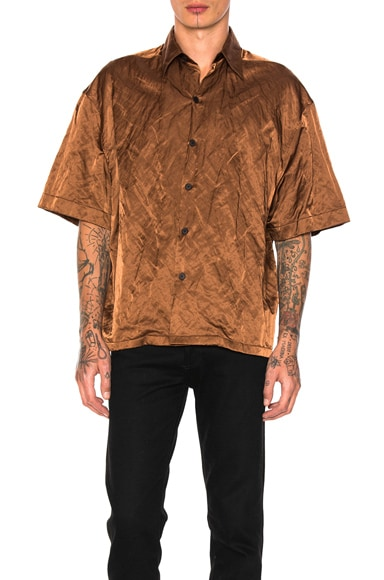 Lanvin Oversize Short Sleeve Shirt in Brown