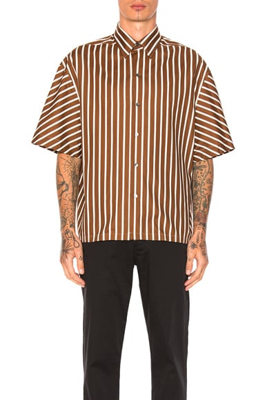 Lanvin Oversize Short Sleeve Shirt in Light Brown
