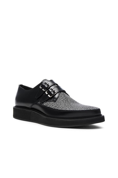 Lanvin Contrast Leather Monk Shoes in Black & White