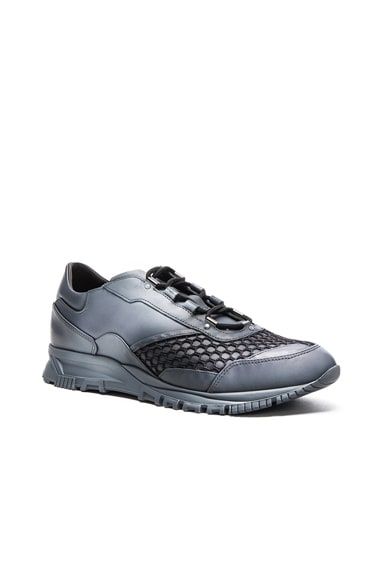 Lanvin Running Leather Spray Sneakers in Anthracite & White