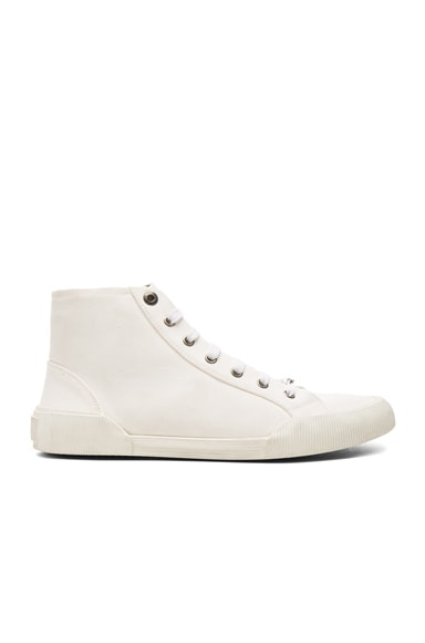 Canvas Destroy Effect Mid-Top Sneakers