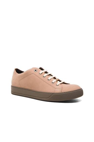 Lanvin Nubuck Calfskin Low Top Sneakers in Powder