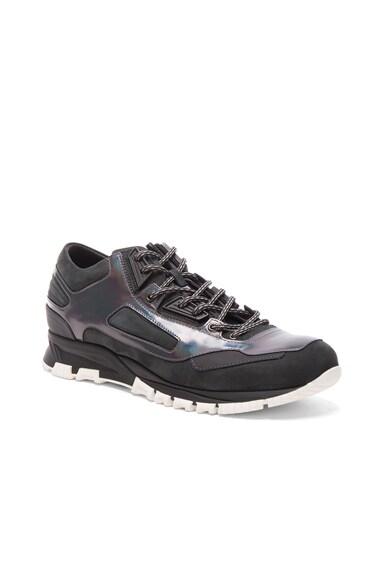 Lanvin Metallized Calfskin Patchwork Running Sneakers in Gunmetal