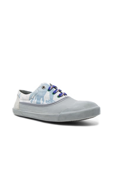 Lanvin Printed Canvas Low Top Sneakers in Light Blue