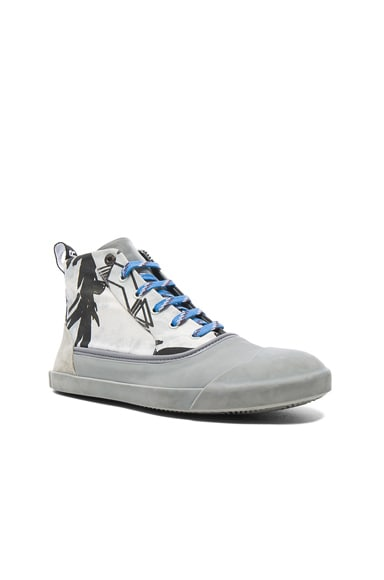 Lanvin Printed Canvas Mid Top Sneakers in Black