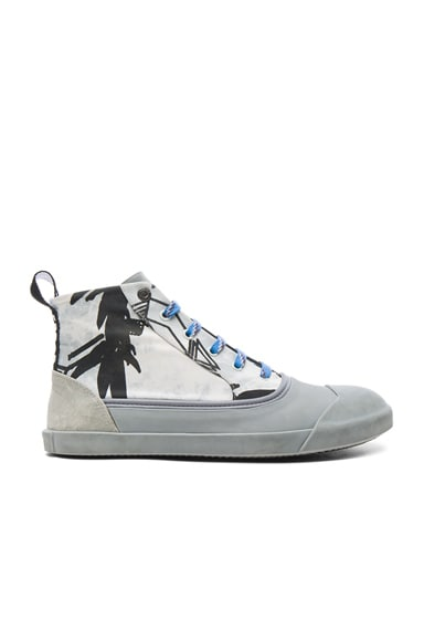Printed Canvas Mid Top Sneakers