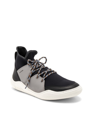 Knit Lace Up Neoprene Sneakers