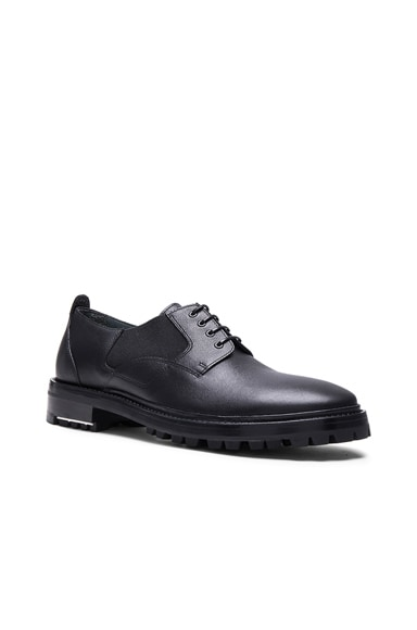 Lanvin Shiny Derbies with Elastic Details in Black