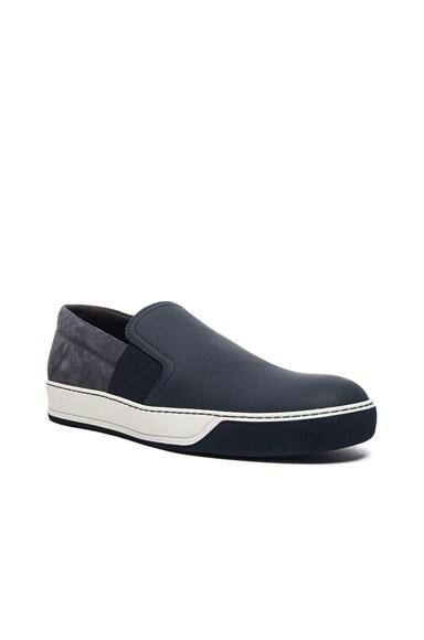 Lanvin Opaco Grained Calfskin Slipper Sneakers in Dark Blue