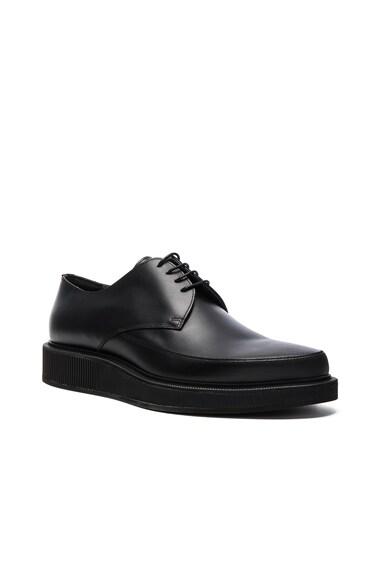 Lanvin Waxed Calfskin Derbies in Black