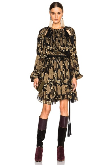 Lanvin Embroidered Silk Mini Dress in Gold