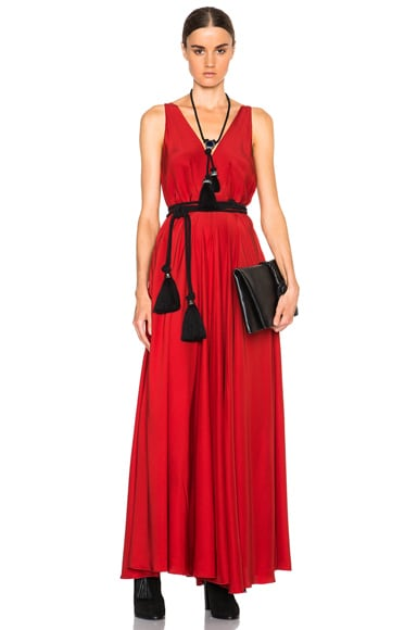 Lanvin Cord Tie Long Silk Dress in Carmine Red