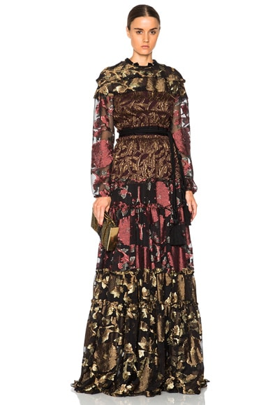 Lanvin Embroidered Silk Maxi Dress in Terracotta