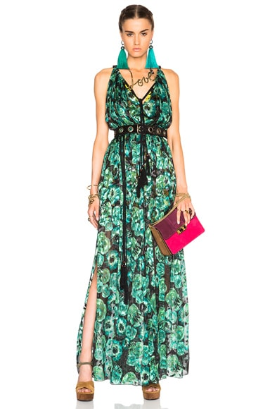 Lanvin Devore Leopard Gown in Emerald