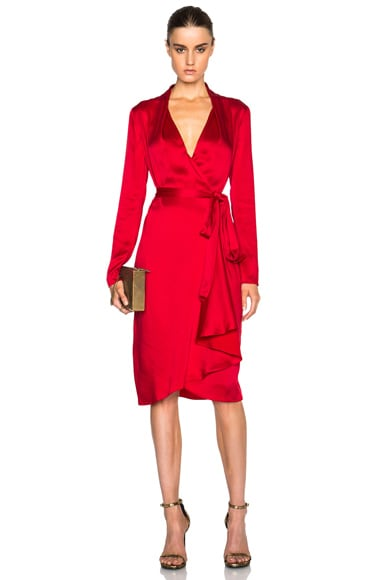 Lanvin Wrap Shirt Dress in Raspberry
